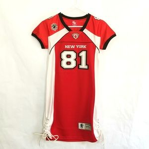 Victorious Red Lace Up Football Jersey Dress